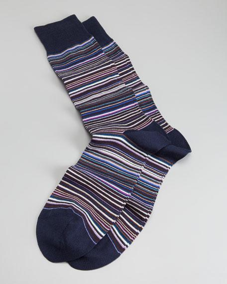 Classic Mini-Striped Men's Socks, Navy-Multi