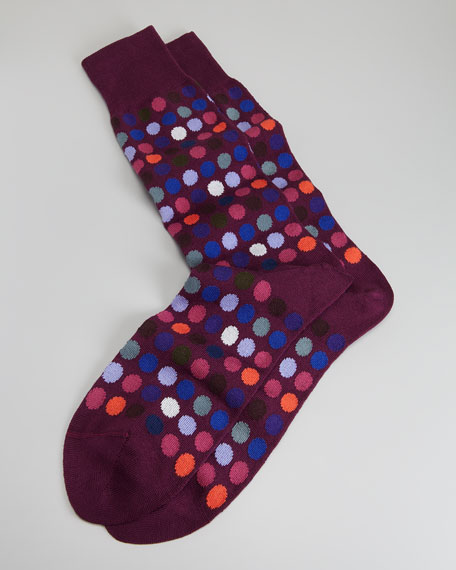 Multicolored Polka-Dot Men's Socks, Pink