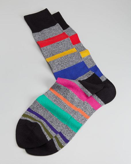 Melange & Multi-Bold Stripe Men's Socks, Black