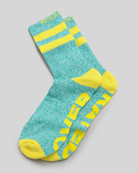 Over Rated Men's Socks, Green/Yellow