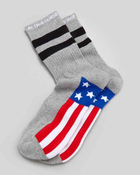 America Men's Socks, Heather Charcoal