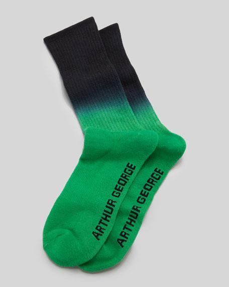 Dip-Dyed Men's Socks, Black/Green