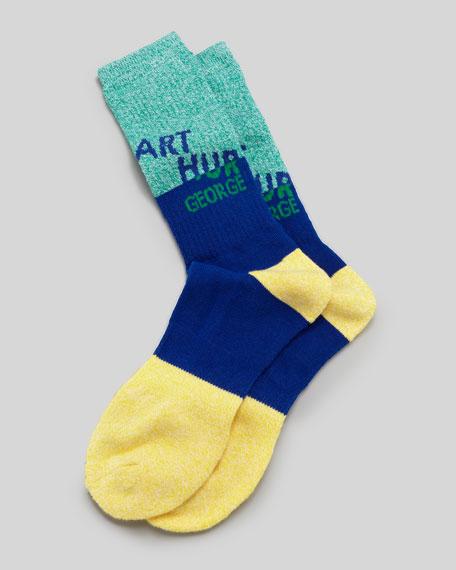 AG Swag Men's Socks, Navy/Green/Yellow