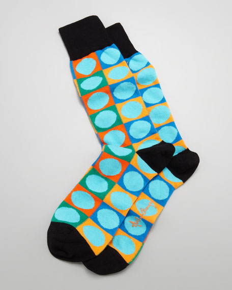 Circle-on-Square Men's Socks, Turquoise