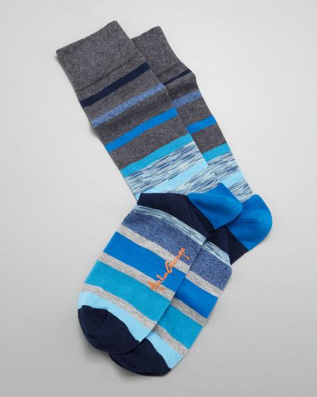 Space Dye Stripes Men's Socks, Gray/Blue