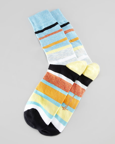 Space-Dye Stripes Men's Socks, Teal/Multi