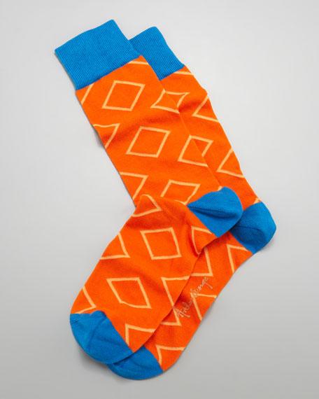 Outlined Diamond Men's Socks, Orange