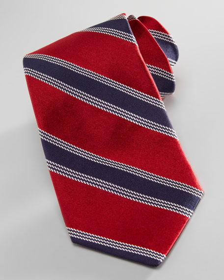 Alternating Stripes Silk Tie, Red