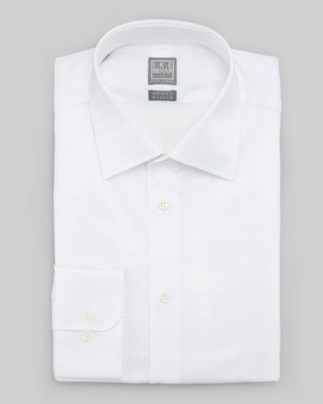 Box Check Dress Shirt, White on White