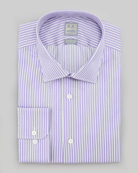 Ike behar striped dress shirt purple white for Purple striped dress shirt