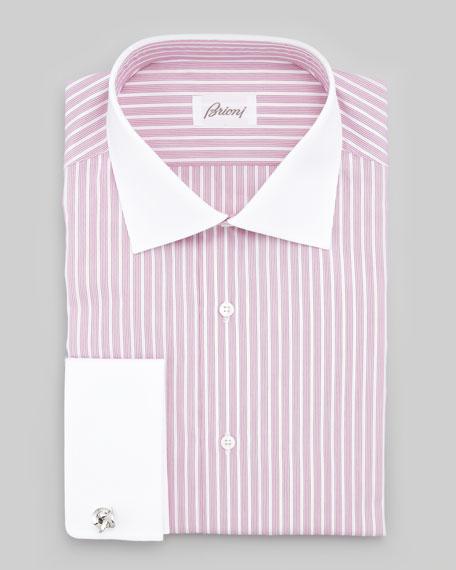 Contrast-Collar Striped Dress Shirt, Berry