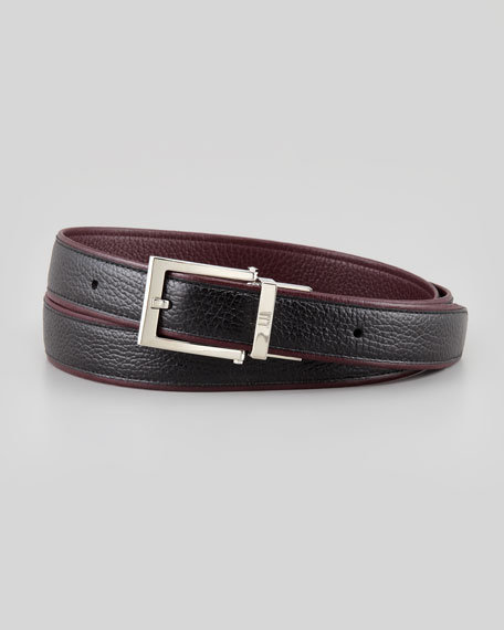Two-Tone Leather Square-Buckle Belt