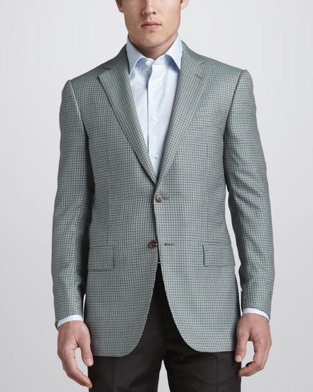 Ermenegildo Zegna Check Cashmere Sport Coat, Olive