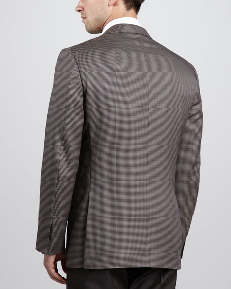 Houndstooth Two-Button Sport Coat, Tan
