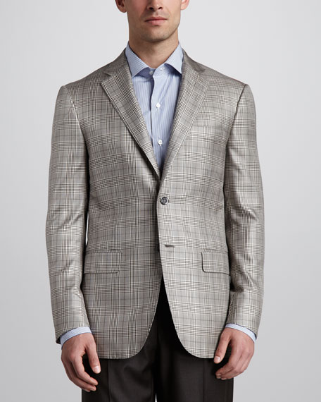 Plaid Sport Coat, Tan/Brown
