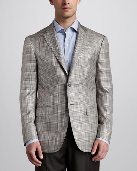 Plaid Sport Coat, Tan/Brown