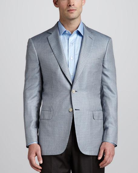 Houndstooth Sport Coat, Light Blue