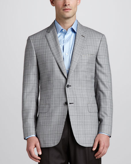 Houndstooth Plaid Sport Coat, Black/White