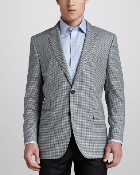 Micro-Check Sport Coat, Blue/Green