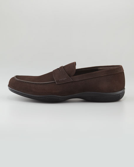 Suede Penny Loafer, Dark Brown
