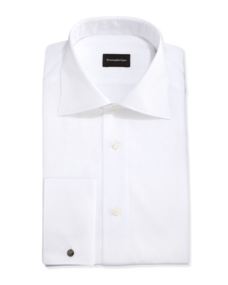 Ermenegildo Zegna French-Cuff White-On-White Dress Shirt