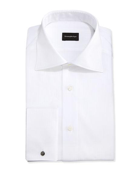 French-Cuff White-On-White Dress Shirt