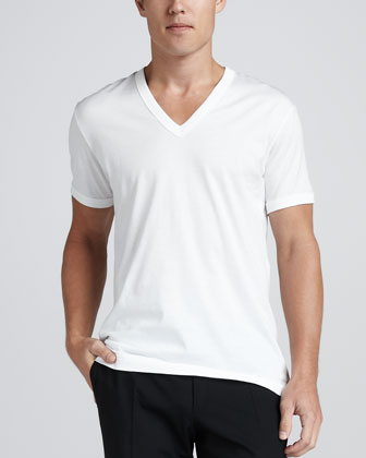 V-Neck Tee with Logo Plaque, White