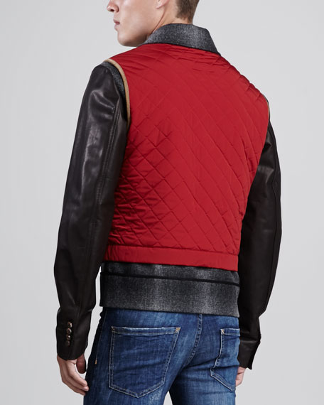 Wool Biker Jacket with Leather Sleeves