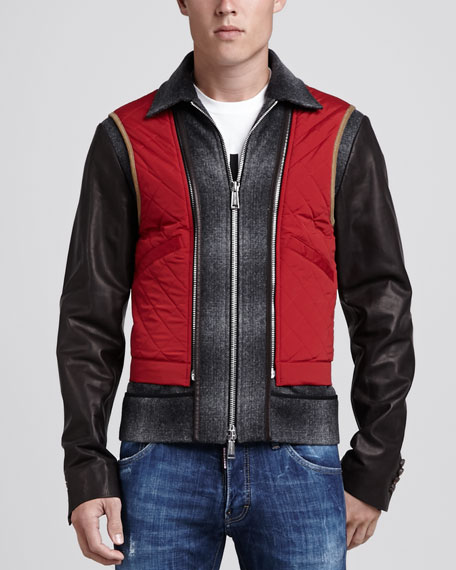Wool Biker Jacket with Leather Sleeves