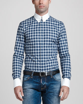 Plaid Shirt with Contrast Collar & Cuffs