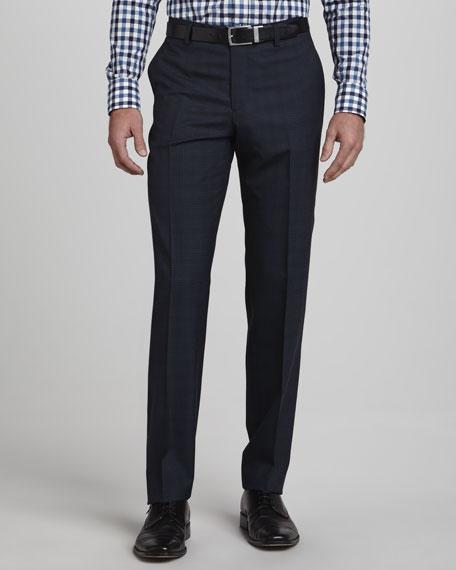Plaid Pants, Blue with Tan Stripe