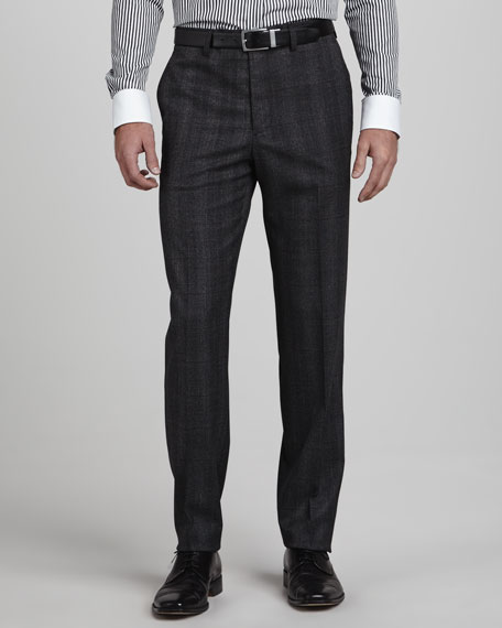 Glen Plaid Pants, Charcoal/Black
