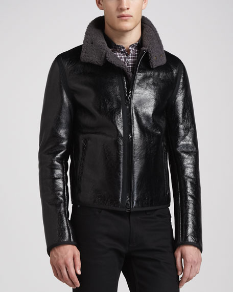 Crinkled Leather Jacket with Wool-Blend Back
