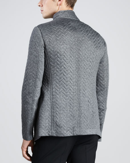 Quilted-Herringbone Jacket, Gray