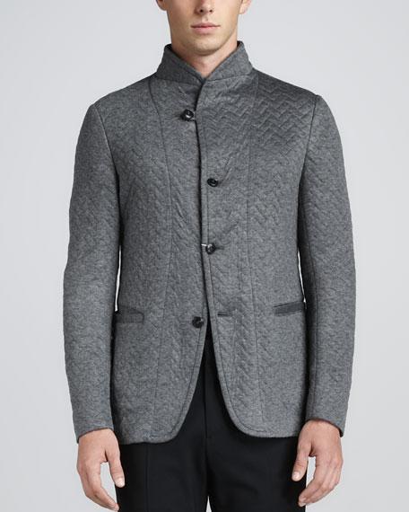 Quilted-Herringbone Jacket, Gray