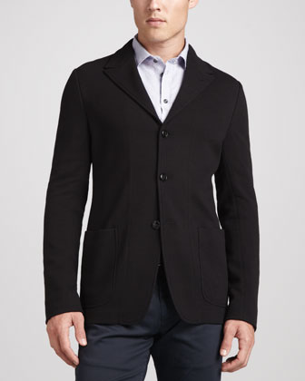 Textured 3-Button Jacket, Black