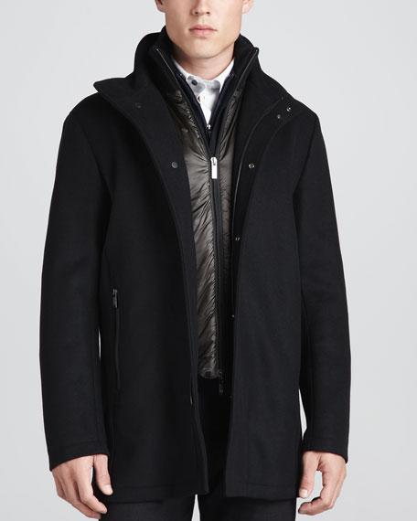 Wool Car Coat, Black