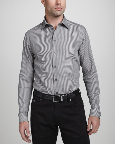 Textured Stripe Dress Shirt, Black