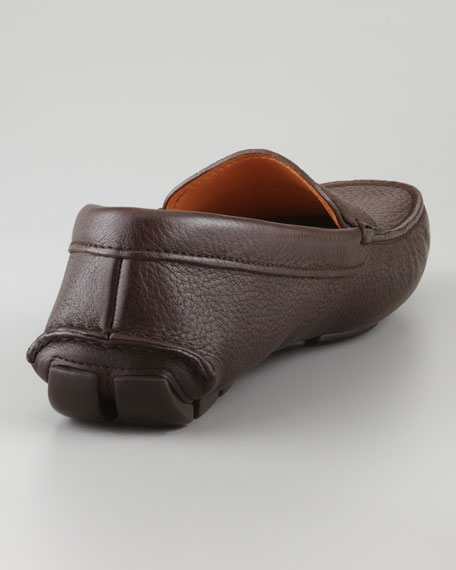 Pebbled Leather Penny Driver, Dark Brown