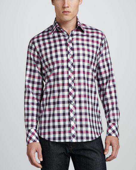 Zerek Check Sport Shirt, Purple/Pink/Black