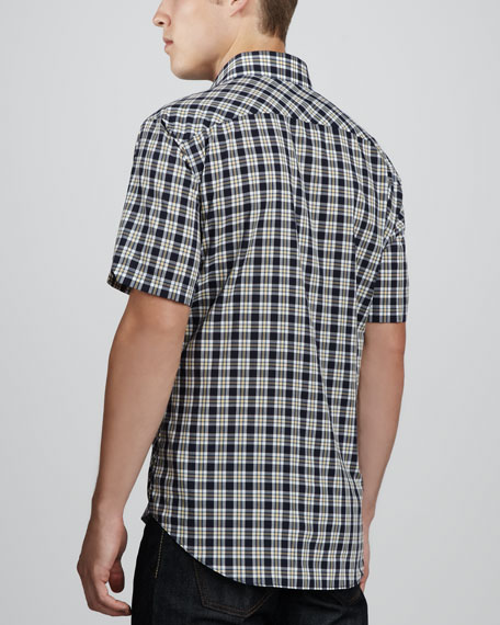 Mackensen Check Short-Sleeve Shirt, Navy/Yellow