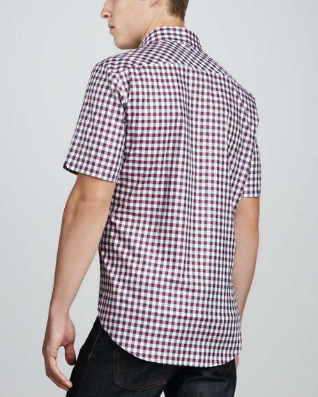 Shinder Check Short-Sleeve Shirt, Purple/Black