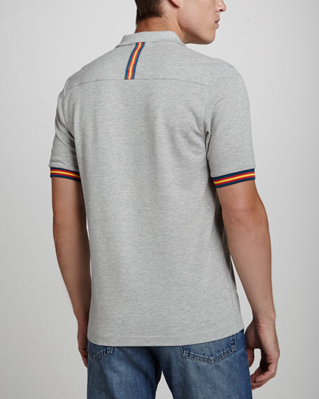 Taped Slim-Fit Polo Shirt, Gray
