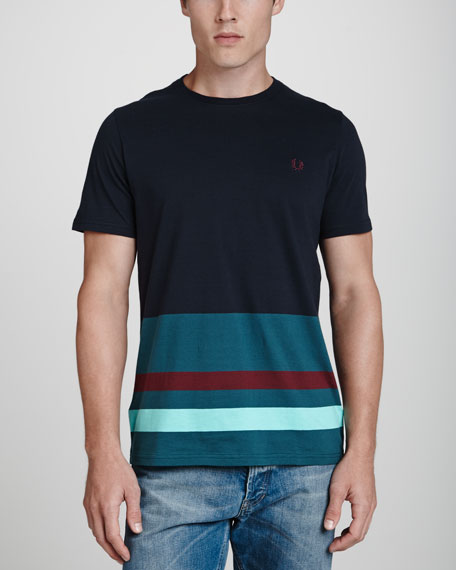 Stripe-Hem Crewneck Tee, Navy/Teal/Burgundy