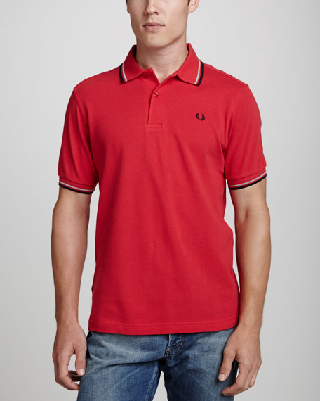 Twin-Tipped Polo Shirt, Bright Red