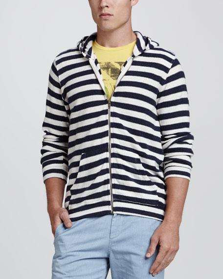 Striped Cotton-Blend Zip Hoodie