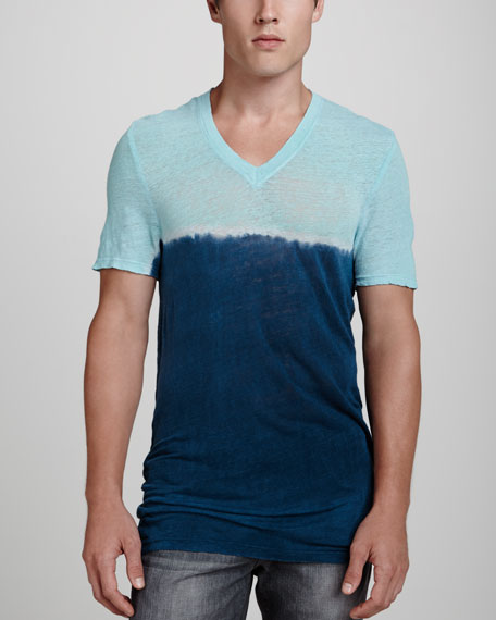 Two-Tone V-Neck Tee, Mint/Navy