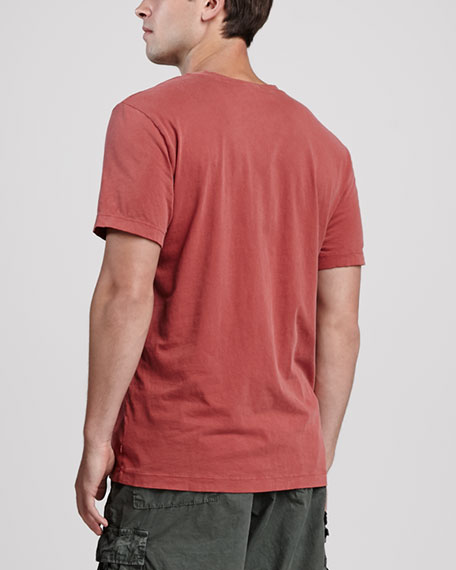 Short-Sleeve V-Neck Tee, Red