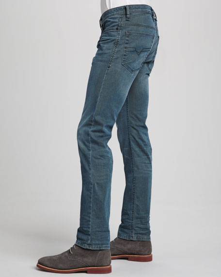Shoiner Turquoise Satin Slim-Fit Skinny Jeans