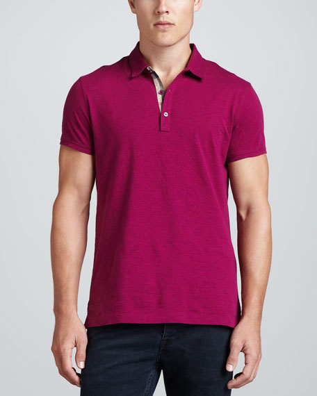 Cotton Slub-Knit Polo, Magenta
